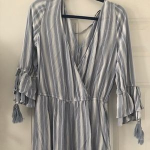 American Eagle Striped Romper with Tassles